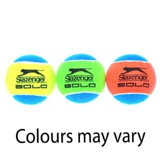 Slazenger Solo 3 Pack Tennis Balls - 3 Balls (x1 Yellow/Blue, x1 Green/Blue, x1 Red/Blue)
