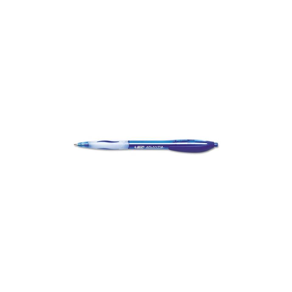 Atlantis Retractable Pen, Med Point, Blue Ink/Clear Barrel