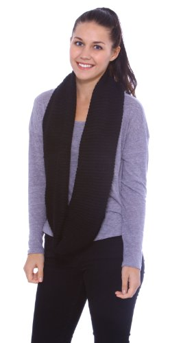 Simplicity Lightweight Solid Color Circle Scarf for Women and Men, Black
