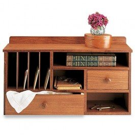 Shaker desk organizer cherry stain small - Cherry desk organizer ...
