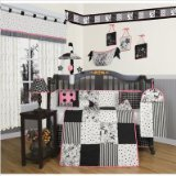 GEENNY Boutique Crib Bedding Set, Beautiful Black White Flower and Dot, 13 Piece