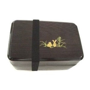 Microwavable Large Japanese Bento box Lunch box Black Bunny