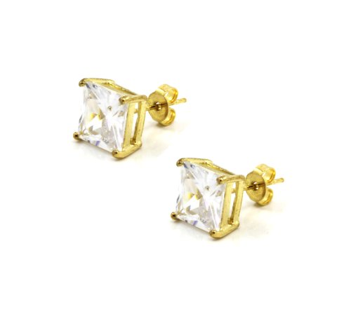 Mens Gold Plated 14K Square Cz Basket Set Princess Cut Clear Stud Earrings 8Mm