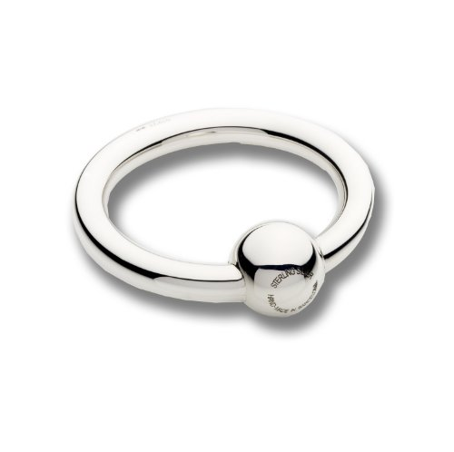 Cunill 5-Ounce Single Ring/Ball Baby Rattle, 2-Inch, Sterling Silver