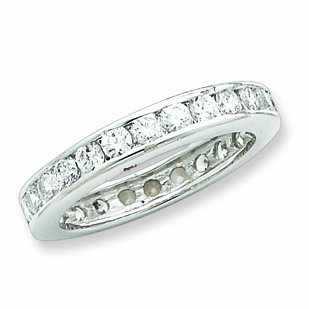 Sterling Silver Cz Eternity Band, Size 6