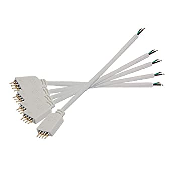 Uxcell Gino 5 Pcs 4 Pin Male Splice Connector Cable for LED Strips
