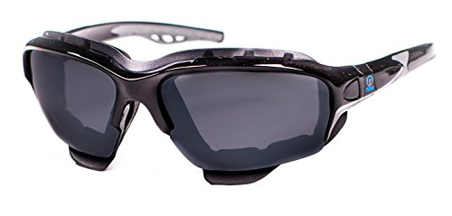 Nexi Sonnenbrille Black Demon ideal als multifunktions Sportbrille, Fahrradbrille oder Skibrille für Herren und Damen mit 3 Paar Wechselscheiben, Bügel-und Kopfbandsystem, + Etui + Mikrofaser Beutel