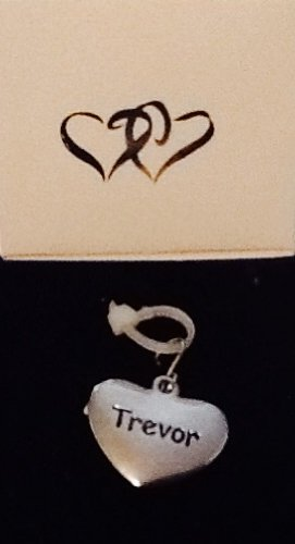 Trevor ~ Silver-Tone Metal Personalized Name Charm! Heart Shaped! Top Quality ~ Name On Both Sides!