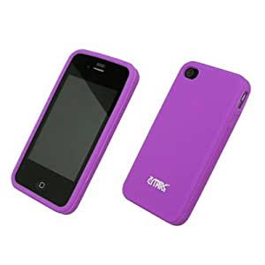 Flexible Silicone Skin Purple Case for Apple iPhone 4