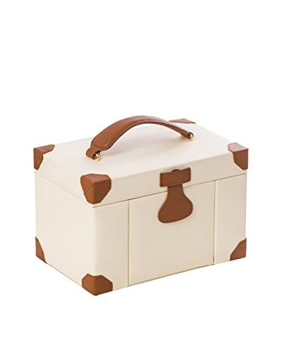 Bey-Berk Ivory Leather 4-Level Multi-Compartment Jewelry Box