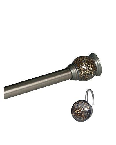 Elegant Home Mosaic Shower Tension Rod & Hook Set, Rubbed Bronze