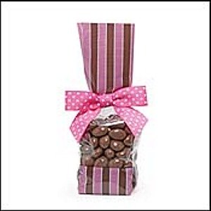 Tall Cellophane Favor Bags / Goodie Bags with Pink and Brown Stripes (2in. W x 9 1/2in. H x 1 7/8in. Deep) - pack of 10