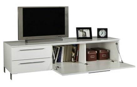 Piushopping - Mobile design mobiletto moderno basso porta tv in legno con mensole a vista e anta arredamento soggiorno