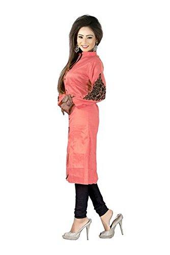 TARUMARU Women's Cotton Silk And Simple Embroidery Work Orange Color Heavy Kurtis (SF_VAT0012A)