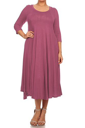 Pastel by Vivienne Women's A-Line Trapeze Midi Dress Plus Size XXX-Large Mauve