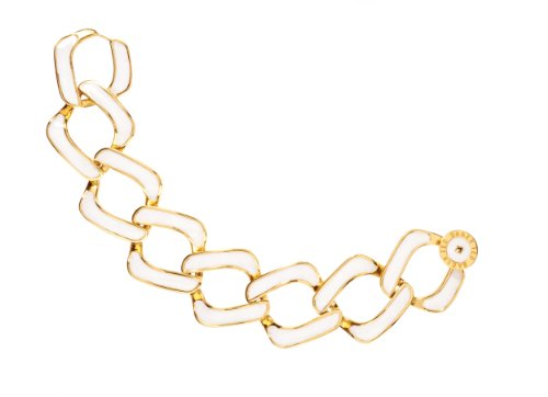 Ted Baker Patti Enamel Curb Chain 18cm Bracelet - White Opaque
