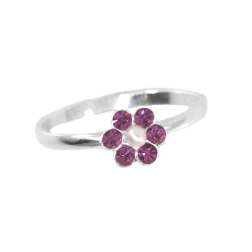 Childrens Flower Ring Fuschia Pink Crystal and Pearl Size 3, 4, and 5 Sterling Silver, size 4