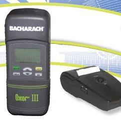 Bacharach 0019-8113 Oxor III (O2 Monitor) includes 4 AA batteries, probe and hose assembly, hard carrying case and IRDA printer with a roll of printer paper
