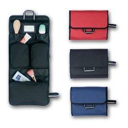Kulturtasche mit Spiegel zum Aufhängen - Nylon schwarz - Maße: ca. 30 x 25 x 3,5 cm