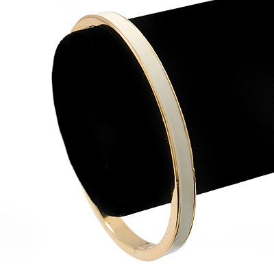 Thin Ivory Enamel 'TICKLE THE IVORIES' Slip-On Bangle Bracelet In Gold Plating - 18cm Length