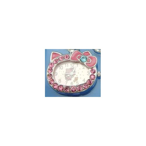 Pink Crystal Hello Kitty Watch Necklace