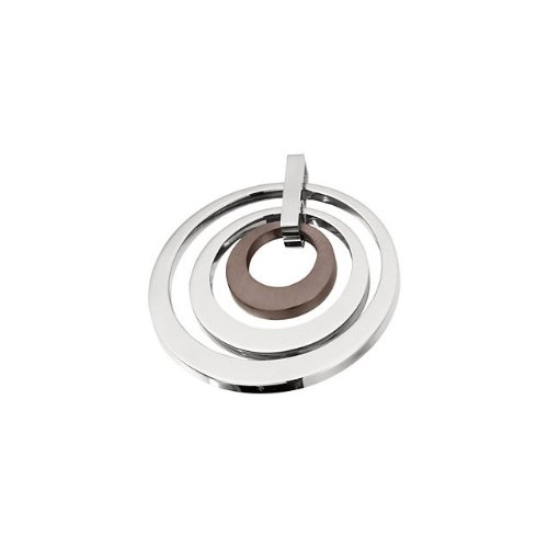 Icecrave Women'S Stainless Steel 33.98X33.91Mm Ladies Triple Circle Pendant With Chocolate Immerse Plating