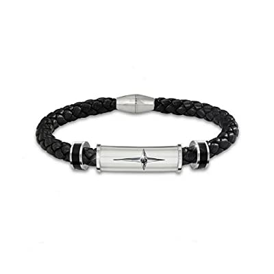 Bracelet: Protection And Strength Leather And Steel Cross Men's Bracelet by The Bradford Exchange