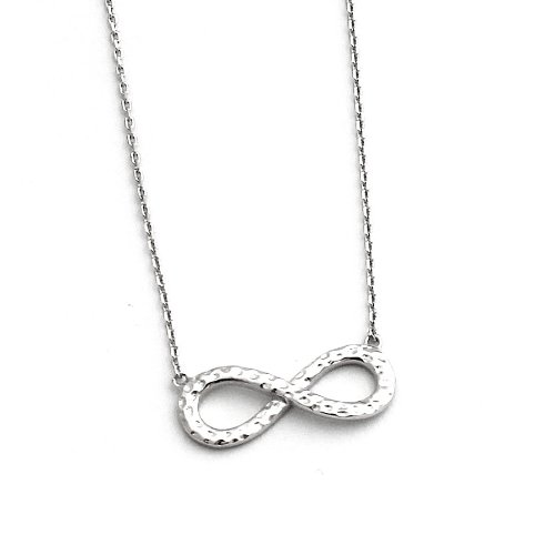 """Solid Sterling Silver Hammered Infinity Symbol 16""""-18"""" Necklace"""