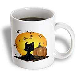 3dRose Black Cat with Pumpkins and Halloween Moon Ceramic Mug, 11-Ounce