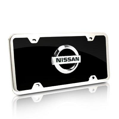 Nissan New Chrome Logo On Black License Plate + Frame (Nissan Chrome License Plate compare prices)