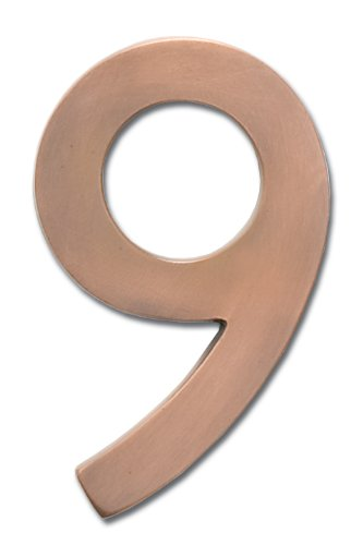 Architectural Mailboxes 3585AC-9  Brass 5-Inch Floating House Number 9, Antique Copper (House Numbers Copper compare prices)