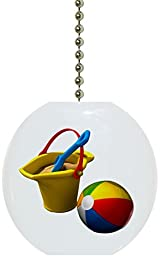 Carolina Hardware and Decor 1032F Beach Ball Sand Bucket Ceramic Fan Pull