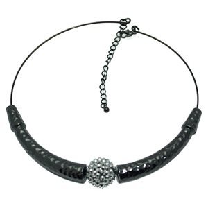 Domino Hematite Crystal Torque Necklace