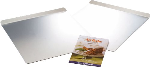 T-fal 84756 Airbake Natural 2-Piece Cookie Sheet Set with Recipe Book, Large, Silver