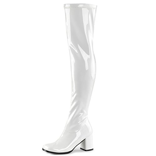Womens White Go Go Boots Over The Knee Stretch Patent Zipper Block 3 Inch Heel