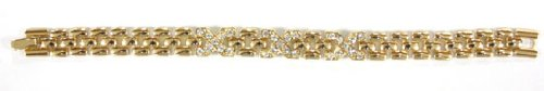 Delicate Gold Link Bracelet with Cubic Zirconia Gemstones - Fashion Bracelet