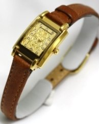 Swistar Watches- Swistar Ladies Strap 23k Gold Finish Swarovski Crystal Markers Women's Watch