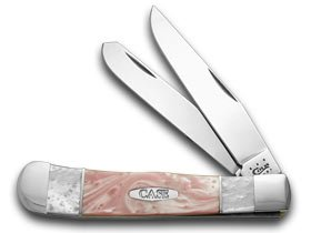Case Xx White Pearl And Pink Pearl Split Handle Trapper Pocket Knife Knives