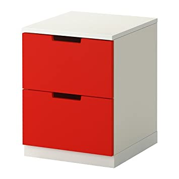 ikea nordli commode 2 tiroirs rouge blanc 40x52 cm amazon. Black Bedroom Furniture Sets. Home Design Ideas