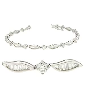 14k White 3.57 Ct Diamond Bracelet - JewelryWeb