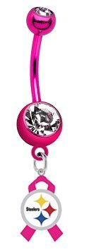 "Pittsburgh Steelers ""Breast Cancer Awareness Ribbon"" NFL PREMIUM Pink Titanium Anodized Sexy Belly Button Navel Ring"