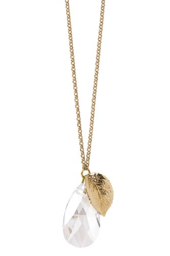 Halskette mit Rosenblatt und Kristalltropfen