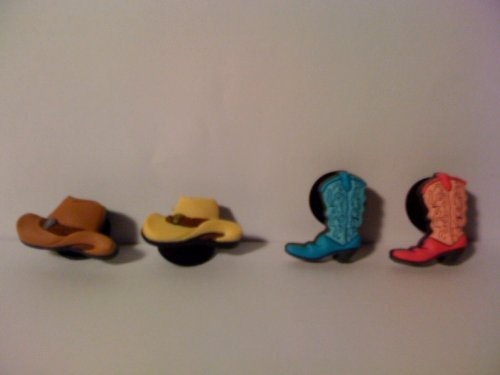 Jibbitz Shoe Accessories Cowboy/ Cowgirl Boots and Hats (4 pc)