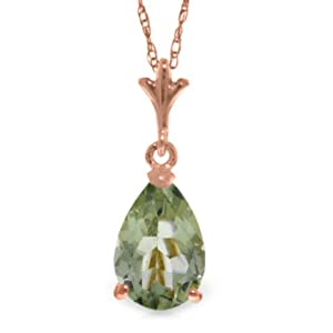 "14K 18"" Rose Gold Pear-shaped Green Amethyst Drop Pendant Necklace"