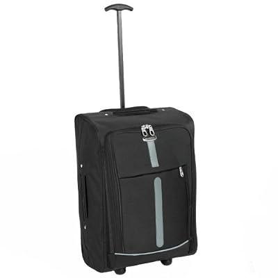 Karabar Super Lightweight Cabin Approved Luggage Bag 55 x 35 x 20 cm, 40 Litres, 1.5 kg, 3 Years Warranty! (1 Piece, Black/Grey) by Karabar