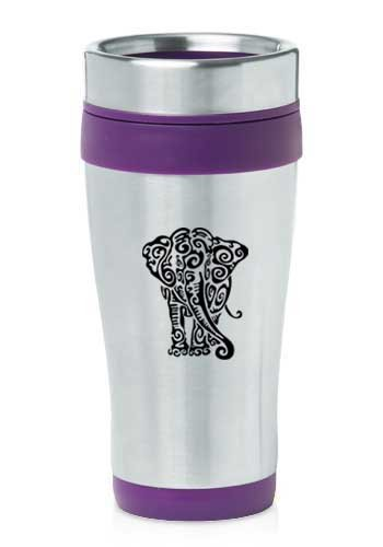 Purple 16Oz Insulated Stainless Steel Travel Mug Z1599 Tribal Elephant