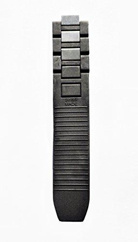 Rubber+Steel Watch Band Strap Black Fits Cartier Must 21 Chronoscaph Autoscaph Long Part