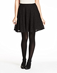 M&S Collection Cotton Rich Floral Lace Skater Mini Skirt