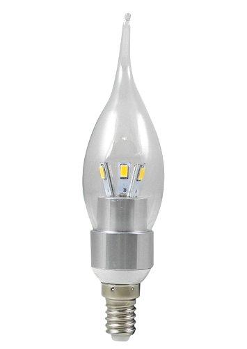 MENGS® E14 3W LED Kerze wie Lampe Birne LED Leuchtmittel mit Aluminium-Karosserie (Kaltweiß 6000K, 270Lumen, 360º Abstrahlwinkel, AC 85V - 265V - Ø35×136mm) Energiespar Licht - Silber