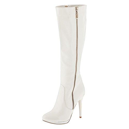 Sergio Todzi © Damenstiefel NEU Sexy Highheels Overknees Stiefeletten Boots Pumps Stiletto (36, Weiß)